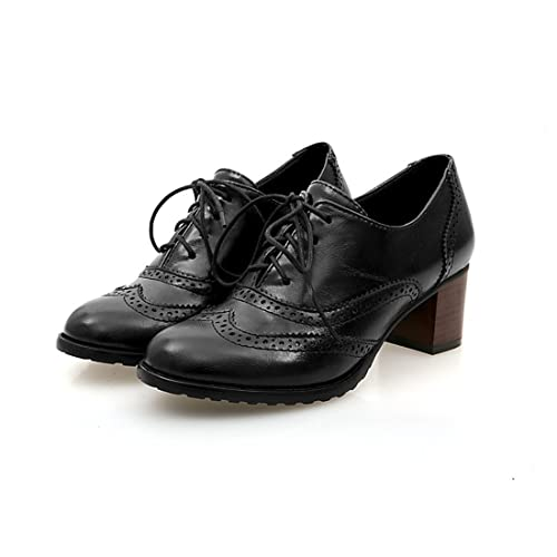 cbecb61c3884 Milesline England Brogue Shoe Womens Lace-up Mid Heel Wingtip Oxfords  Vintage PU Leather Shoes