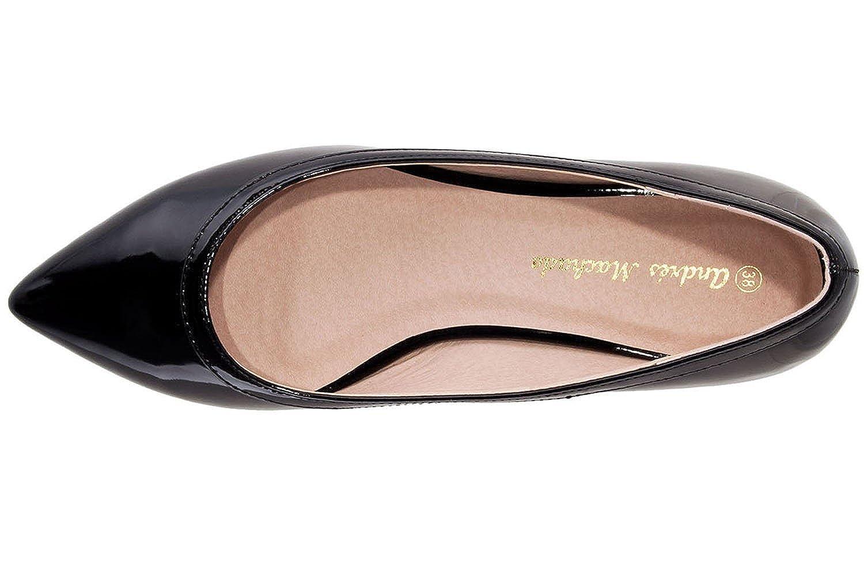 Andres Machado - Schwarz Damen Lack Ballerina - Schwarz - Schuhe in Übergrößen 8b2db1
