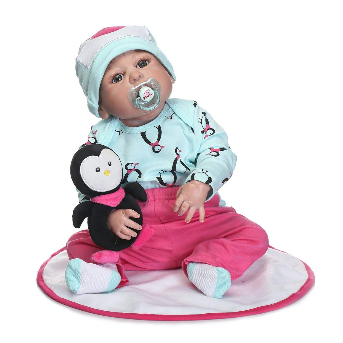 Footprintes 22 Pulgadas niños renacer muñeca de Cuerpo Completo de Silicona Realista recién Nacido muñeca con pinguuml;ino Toque Suave Mejor Regalo de cumpleaños