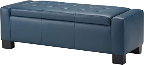 CHITA Button Tufted Faux Leather Storage Ottoman Bench