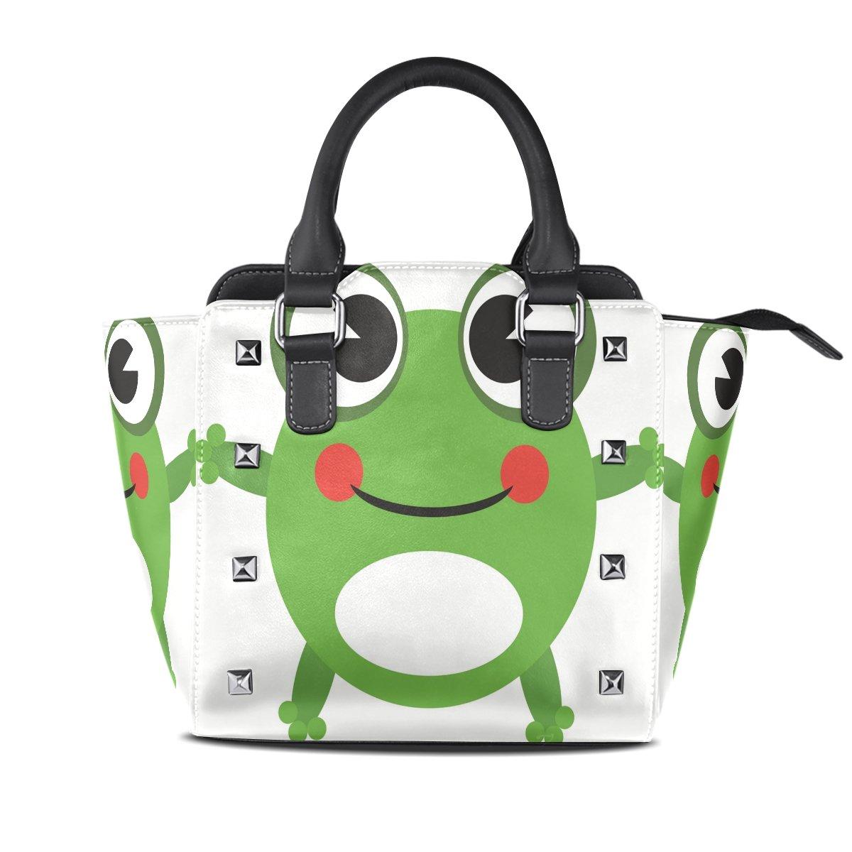 Ladies Genuine Leather Tote Bags Cute Frog Womens Hangbags Shoulder Bags