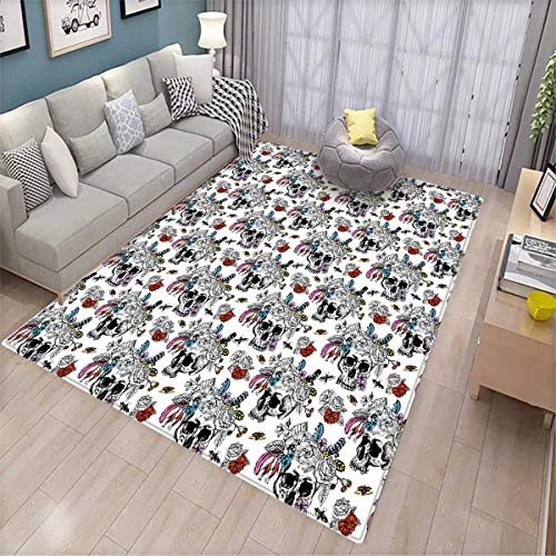 Day of The Dead Anti-Skid Rugs Sugar Skull with Flowers Pattern Vintage Rose Bouquet and Bees Retro Print Girls Rooms Kids Rooms Nursery Decor Mats Multicolor