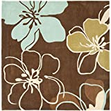 Cheap Safavieh Modern Art Collection MDA611A Handmade Contemporary Floral Brown and Multi Polyester Square Area Rug (7′ Square)