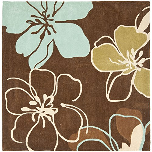(Safavieh Modern Art Collection MDA611A Handmade Contemporary Floral Brown and Multi Polyester Square Area Rug (7' Square))