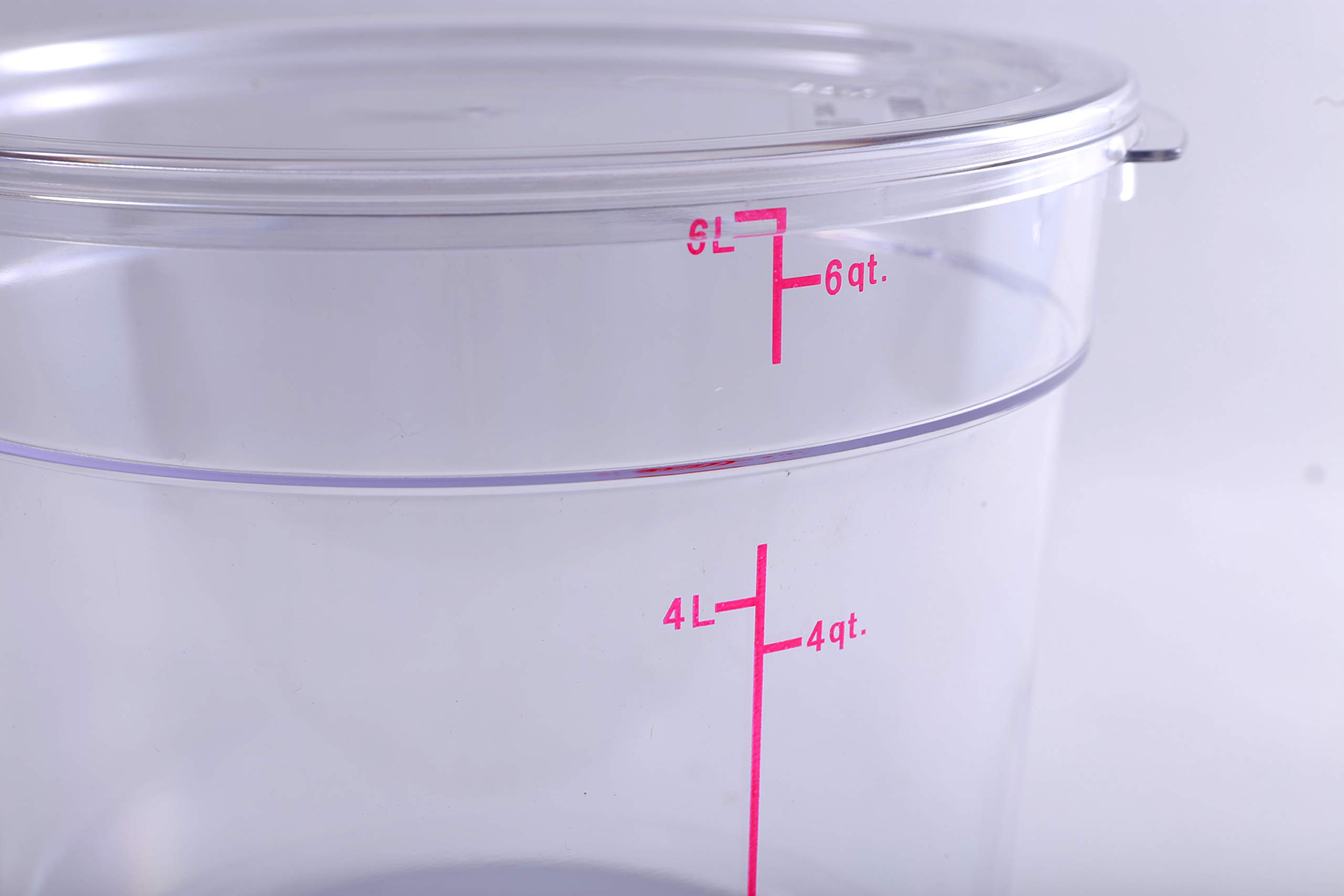Hakka 6 Qt Commercial Grade Round Food Storage Containers with Lids,Polycarbonate,Clear - Case of 5 by HAKKA FOOD PROCESSING (Image #4)