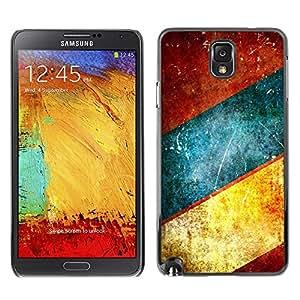 TopCaseStore / la caja del caucho duro de la cubierta de protección de la piel - Lines Blue Teal Rustic Brown - Samsung Galaxy Note 3 N9000 N9002 N9005