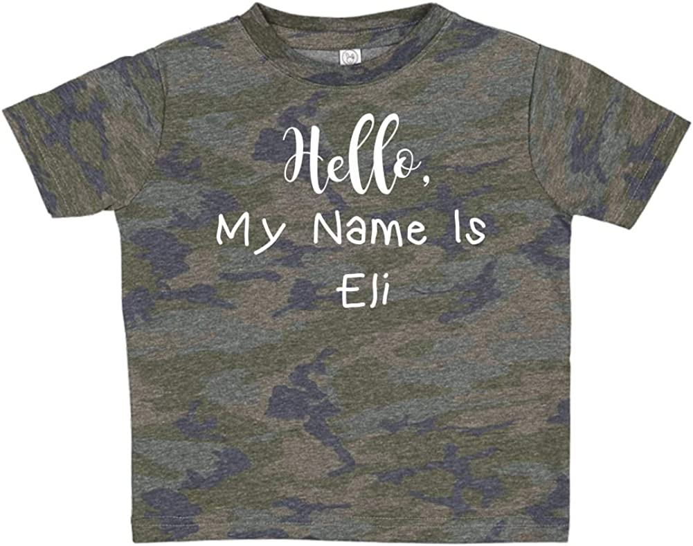 Mashed Clothing Hello My Name is Eli Personalized Name Toddler//Kids Short Sleeve T-Shirt