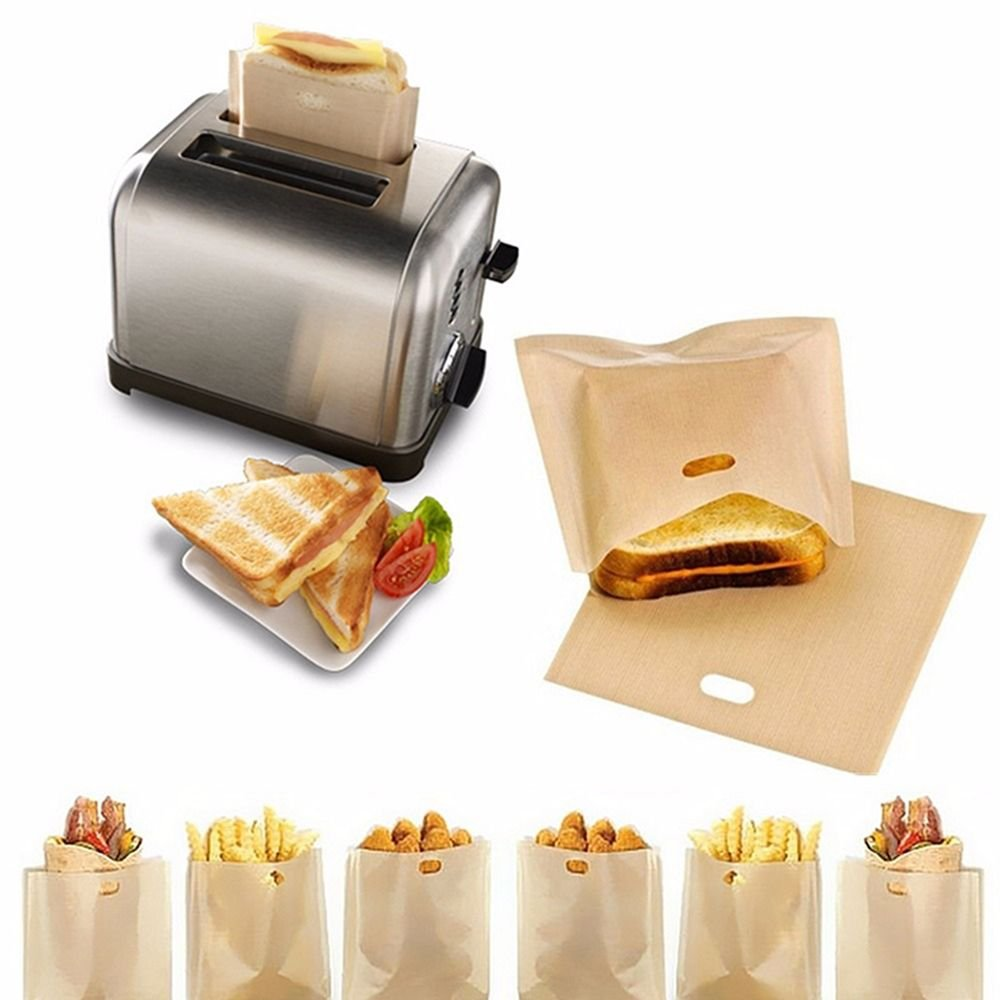 EOPER 10 Pieces Reusable Non Stick Toaster Bags Sandwich Bread Toast Pockets Microwave Heating Pastry Tools