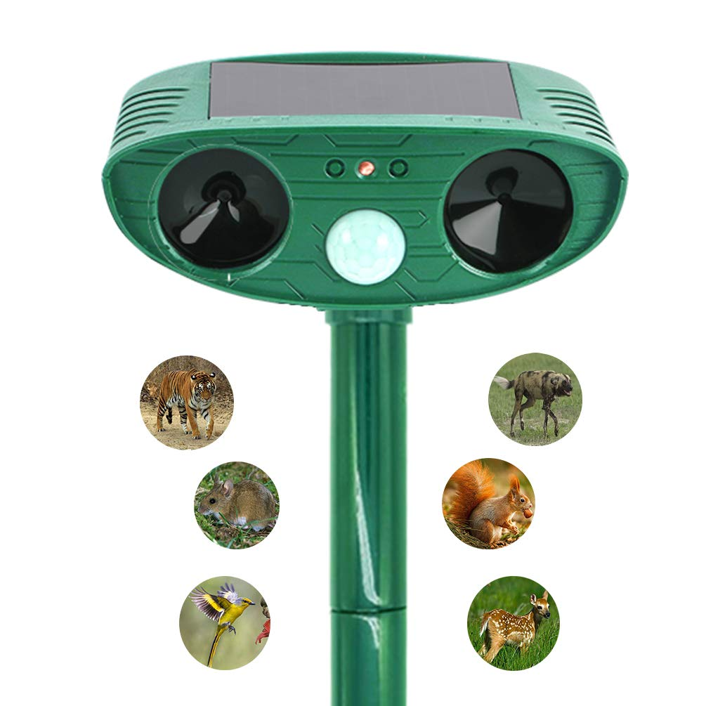 KuHao Ultrasonic Animal Pest Repeller, Solar Powered Repellent with Red Flashing Lights and Ultrasonic Motion Sensor Outdoor Waterproof Farm Garden Yard Repellent,Skunks, Foxes,Cats,Deer,Birds,etc.