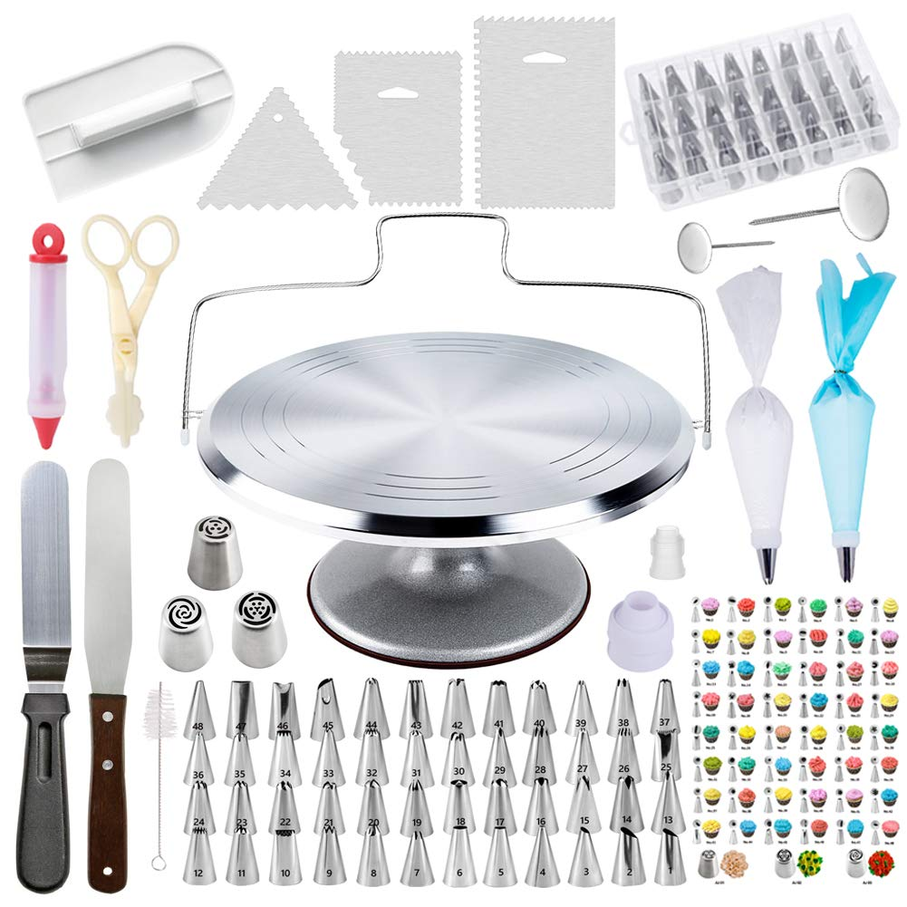 78 Piece Cake Decorating Supplies Kit | Aluminium Rotating Turntable Stand, Frosting & Piping Tips, Icing Spatula, Scraper, Smoother, Flower Nails, Cutter, Disposable Pastry Bags, Pro Baking Tools