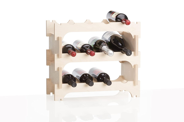 Xamonia® WR2-12F Cantinetta portabottiglie Vino ad Incasso da Parete in Legno/multistratto, Stabile ed espandibile in Altezza e in Larghezza Xamonia®