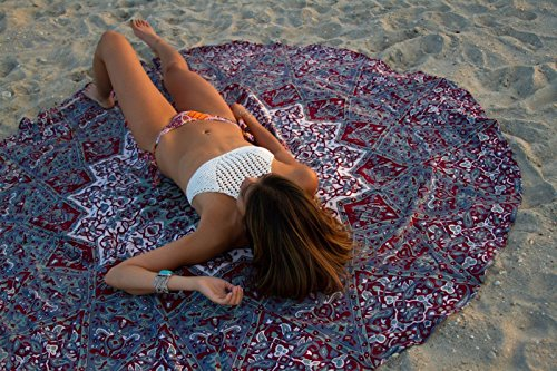 HOLY HOME Beach Towel Tapestry Indian Mandala Roundie Traditional Handcrafts Yoga & Picnic Mat Travel Blanket Tablecloth Multipurpose Gypsy Bohemian Hippy Home Decor 60'' Round Elephant & Star Red by HOLY HOME