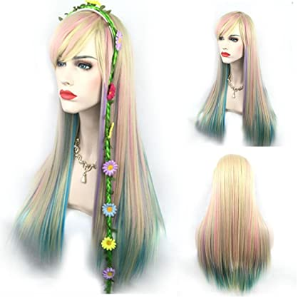 Señoras de la manera Anime Cosplay peluca de color gradiente de pelo largo y recto con