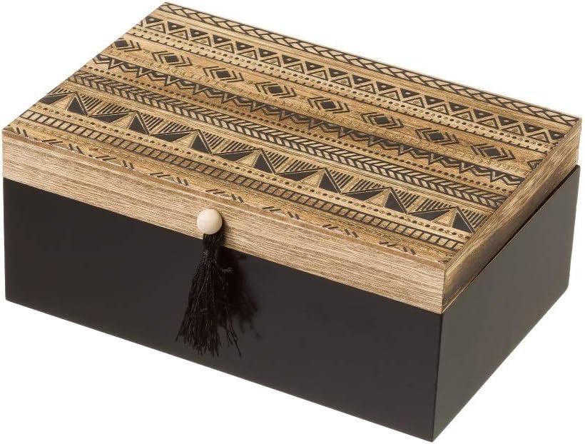 Caja joyero de Madera Negra étnica para Dormitorio Factory - LOLAhome: Amazon.es: Hogar