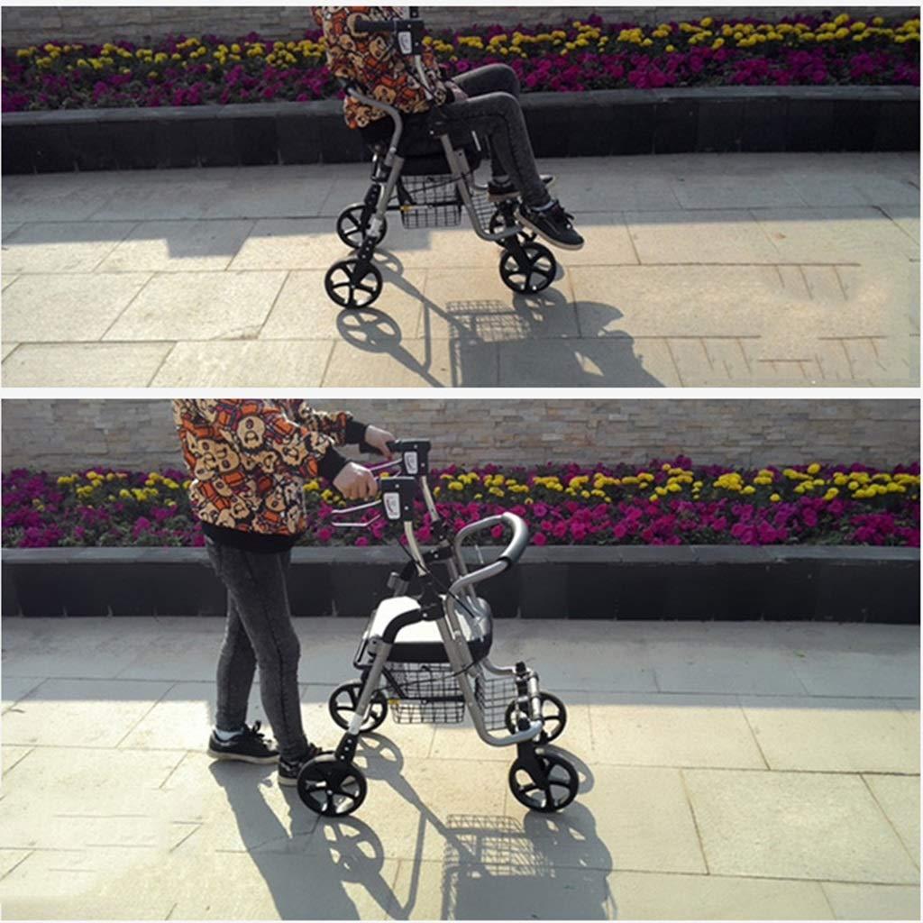 Mjb Carrito de Compras Trolley Coche Andador Anciano Scooter Carrito de Compras Carro de Ruedas Silla de Ruedas Se Puede sentar Bicicleta Plegable de Cuatro ...