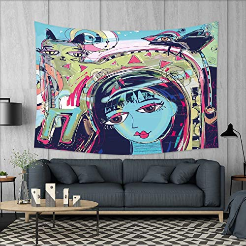 smallbeefly Modern Art Wall Tapestry Funk Style Avatar Woman with Cat on Her Head Graffiti Unusual Human Humor Art Home Decorations for Living Room Bedroom 80