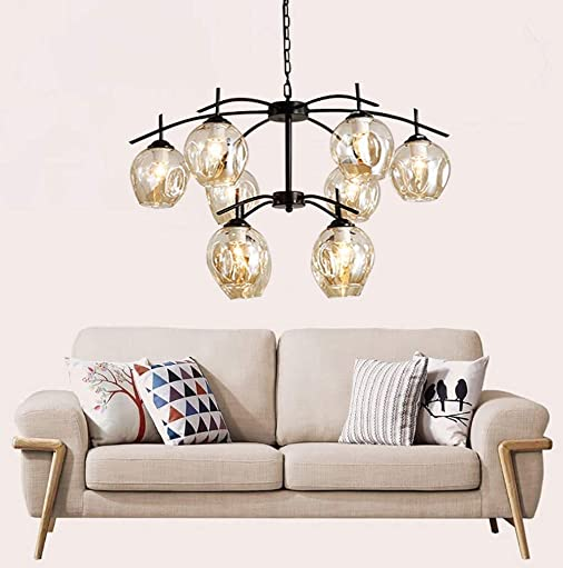 DZ-58 Vintage 10-Light Chandelier Cognac Cluster Pendant Glass Lampshade Island Lighting Sputnik Fixture Black Finish-Iron Frame Ceiling Light
