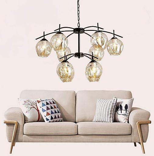 DZ-58 Vintage 10-Light Chandelier Cognac Cluster Pendant Glass Lampshade Island Lighting Sputnik Fixture Black Finish-Iron Frame Ceiling Light