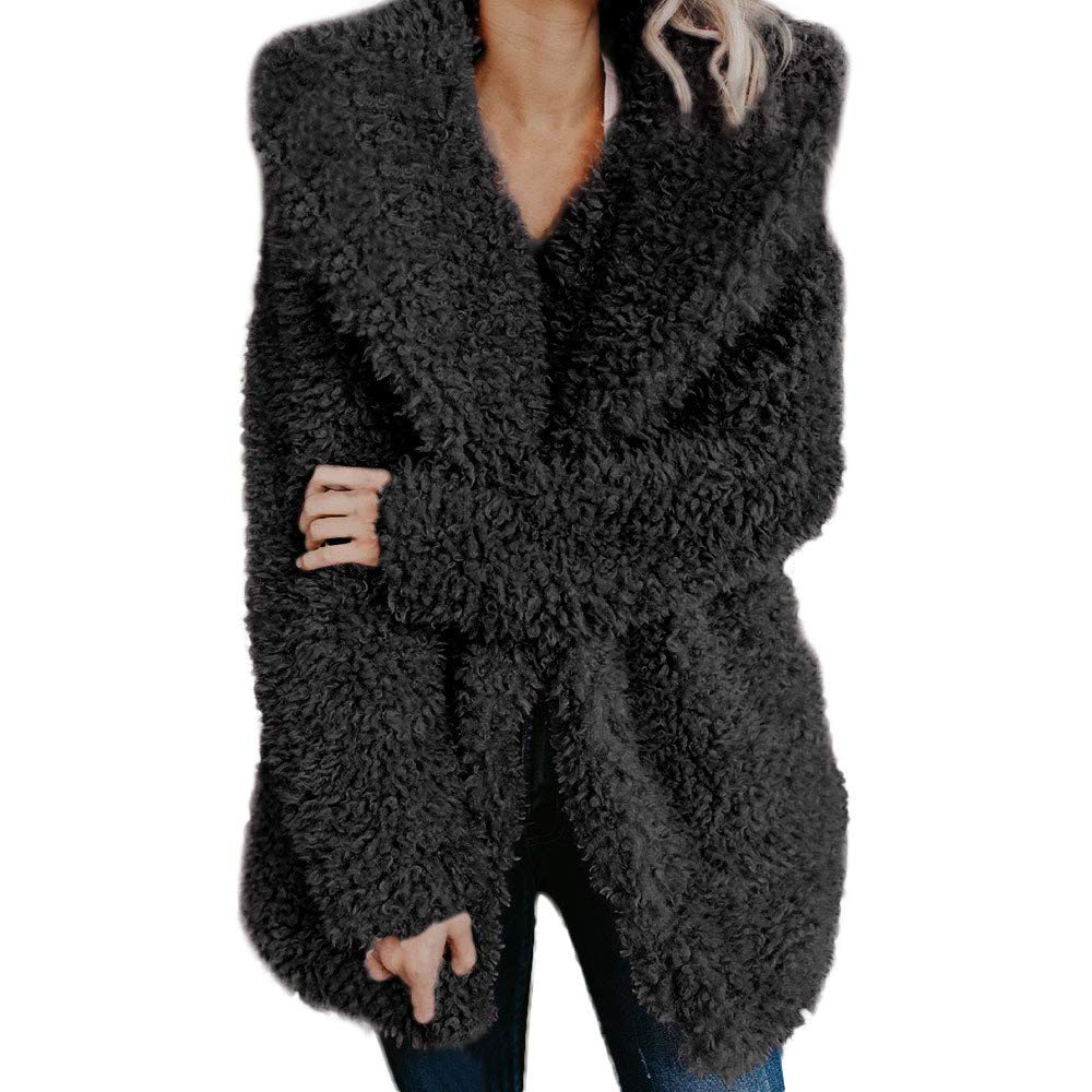 Baiggooswt Womens Winter Warm Casusal Artificial Wool Coat Notched Collar Jacket Lapel Winter Long Outerwear(Black,M) by Baiggooswt