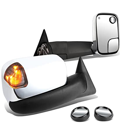 FOR 98-02 DODGE RAM TRUCK POWER+SMOKE SIGNAL LED CHROME TOWING SIDE MIRROR PAIR