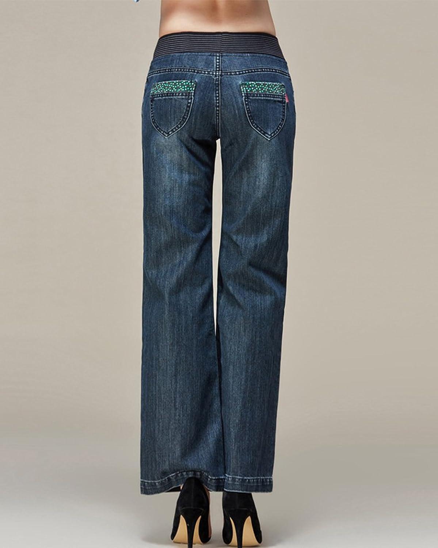 Women's Elastic Waist Straight Wide Leg Jeans Slim Plus Size Denim Trousers:  Amazon.co.uk: Clothing