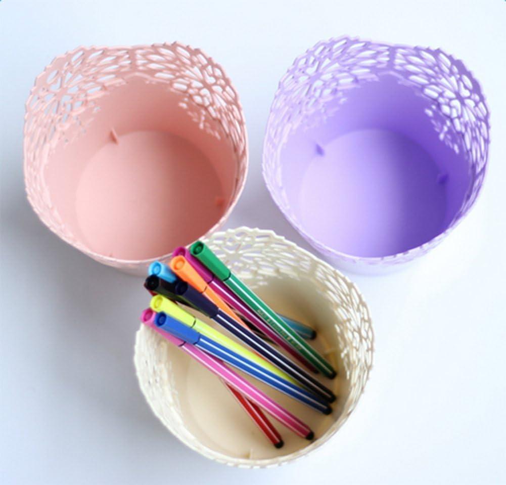 Pot /à Stylo en Plastique Style Ajour/ée Fleurs en Dentelle pour Maison Bureau D/écoration Le Transport de Colis est Facile /à endommager Topsaire 3pcs Pot /à Crayons