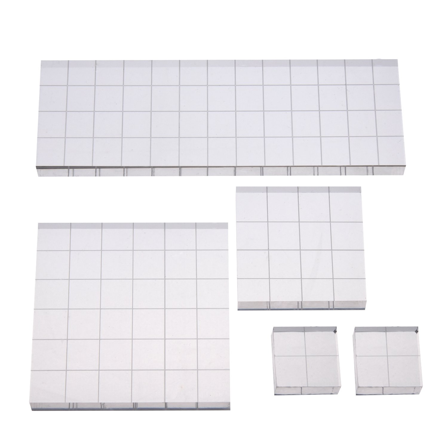Shappy Stamp Block Acrylic Block with Grid Lines, Assorted Sizes, 5 Pieces 4336990007