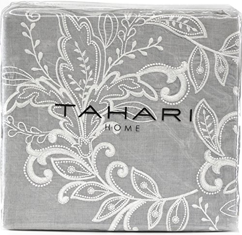 Tahari Home 100% Cotton Floral Damask 3pc Full Queen Duvet Cover Set Textured Stitching Embroidered Medallions (Grey Chambray, (Embroidered Duvet)