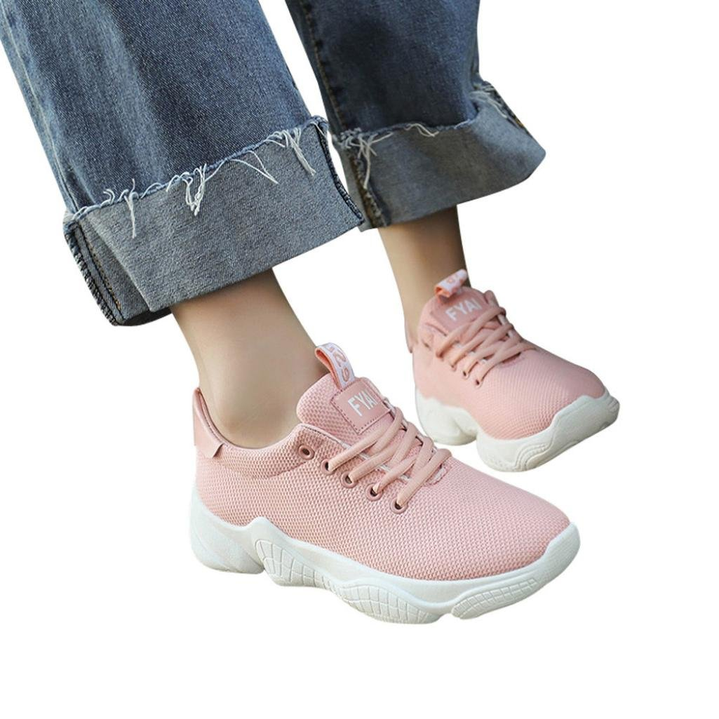 Womens Tennis Sneakers Casual Lace Up Comfortable Soles Platform Sports Walking shoes (Pink, US:7)