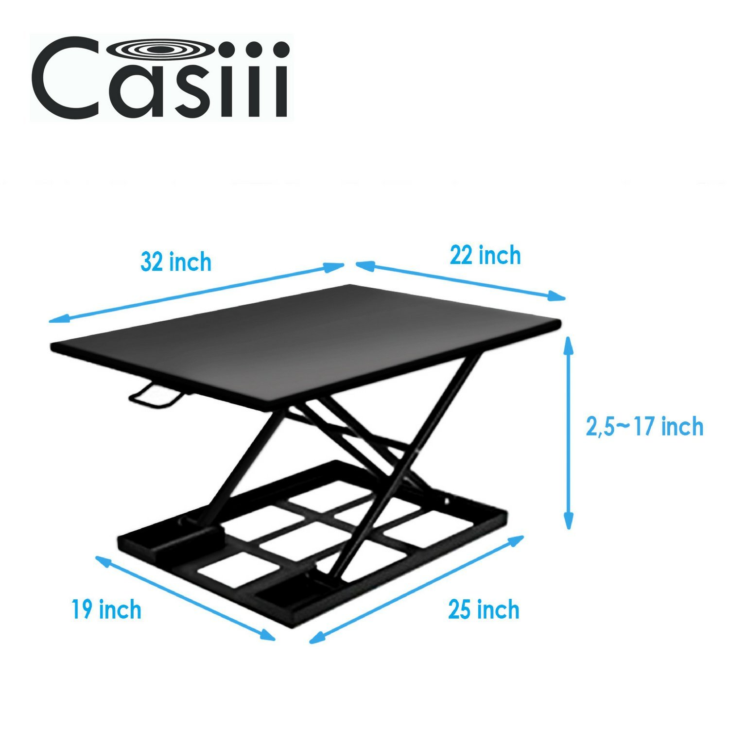 Best Standing Desk, Adjustable Height Riser Converter, Stand Up or Sit Down, 32'' Black Office Desktop, Computer Monitor & Laptop Workspace, Unlimited Ergonomic Positions for Better Health, Casiii UP32 by Casiii (Image #5)