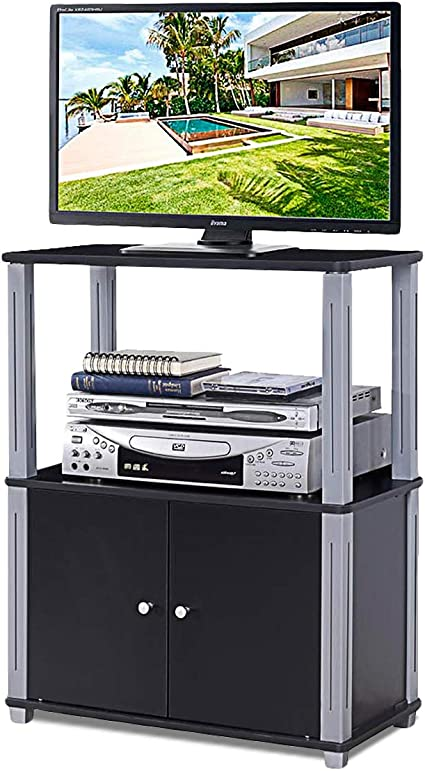 costway meuble tv avec compartiments en bois armoire de rangement pour salon salle a manger chambre 60 x 29 5 x 80 cm noir