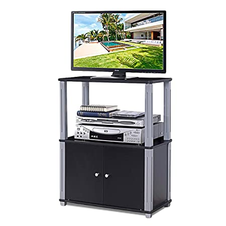 Tangkula TV Stand, Multipurpose Sturdy Shelf Media Stand Storage Display Rack for Home Office Display Cabinet TV Entertainment Center Console with Shelf and Cabinet Black