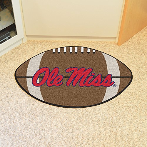 FANMATS NCAA University of Mississippi - Ole Miss Rebels Nylon Face Football Rug