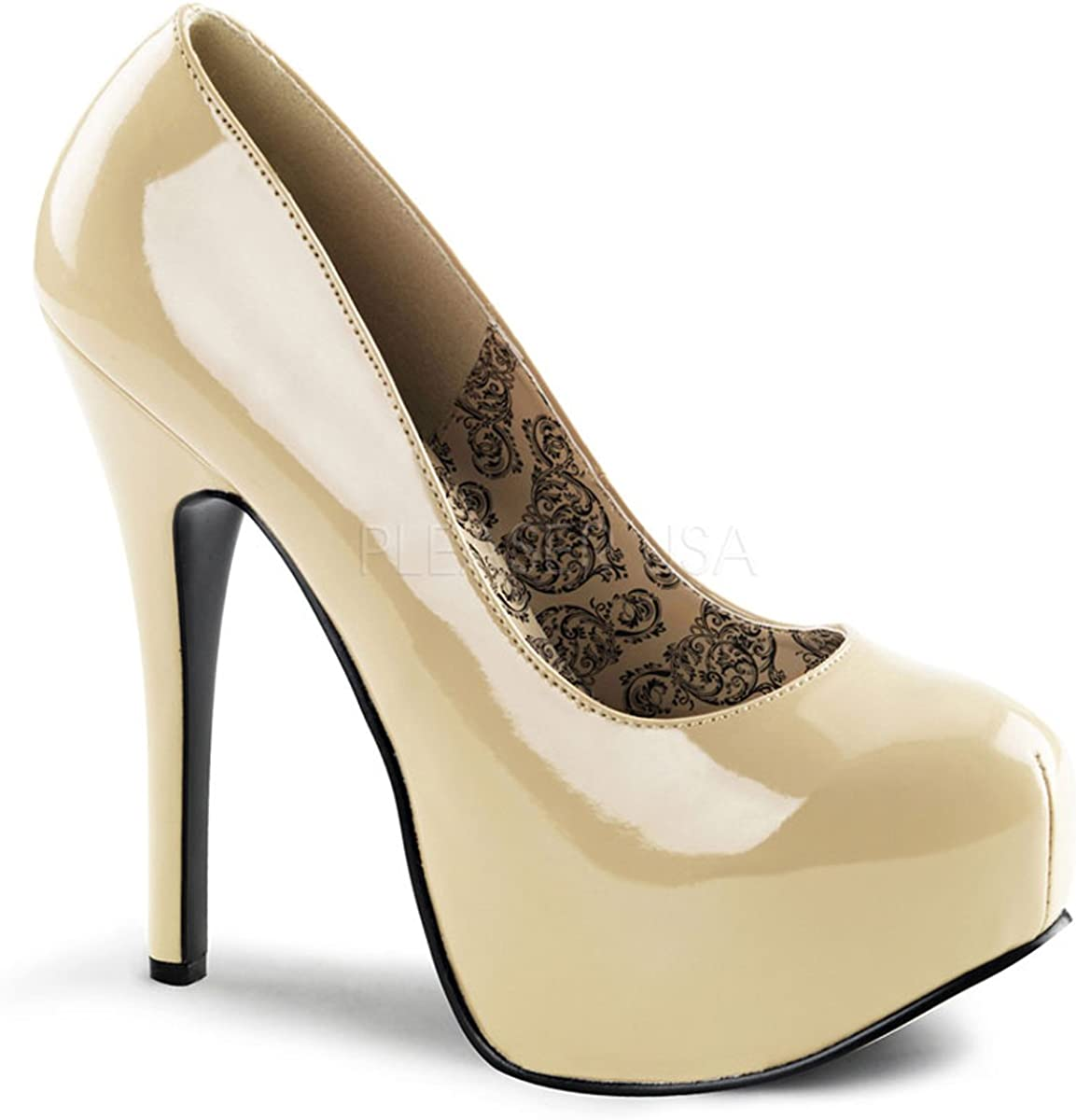 Bordello Womens Casual Dress Shoes Cream Pumps Patent Platform Round Toe 5 34 Inch Heel Size: 7 Beige