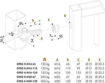 LOCINOX VANDALPROOF ONE Way 90/° Hinge G90Z