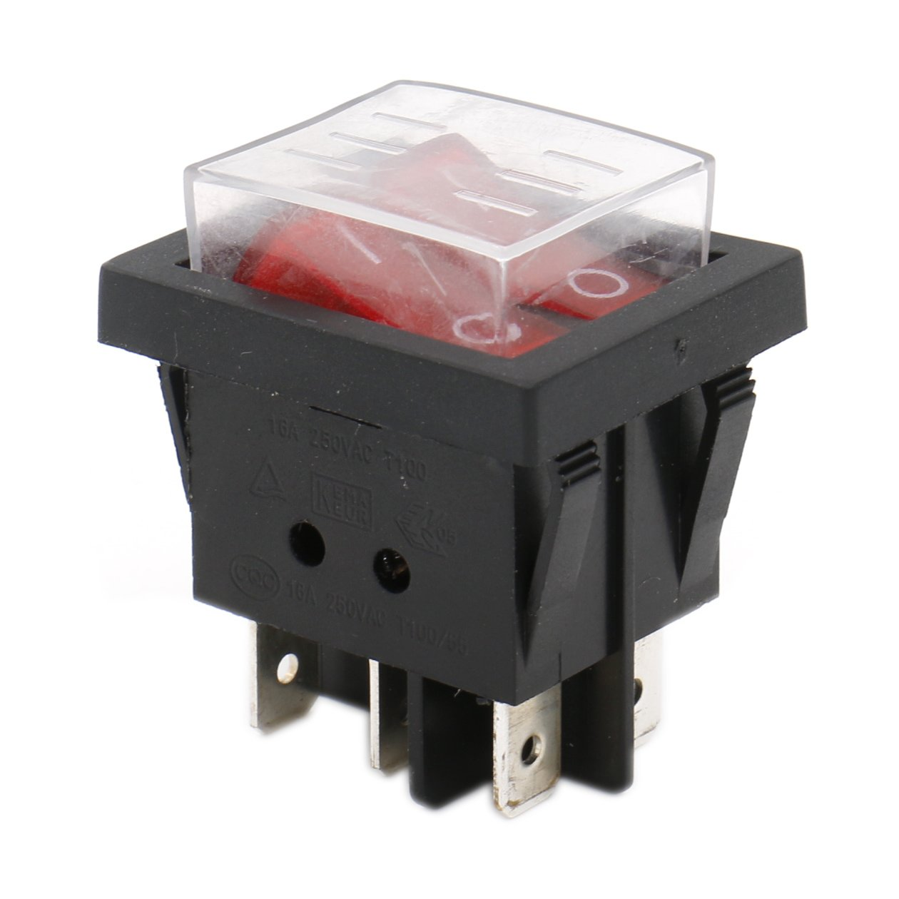 Heschen Double Rocker Switch SPST ON-OFF 6 Terminals Red light 16A 250VAC with Waterproof Cover Ningbo Master Soken Electrical Co.Ltd RK1-22-HS-D
