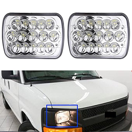 Headlight High Low Beam for Chevy Express Cargo Van 1500 2500 3500 - H6014 / H6052 / H6054 / 6054 / H4 / 9003 / HB2 Sealed Beam Super Bright (Chevy Van Headlight)