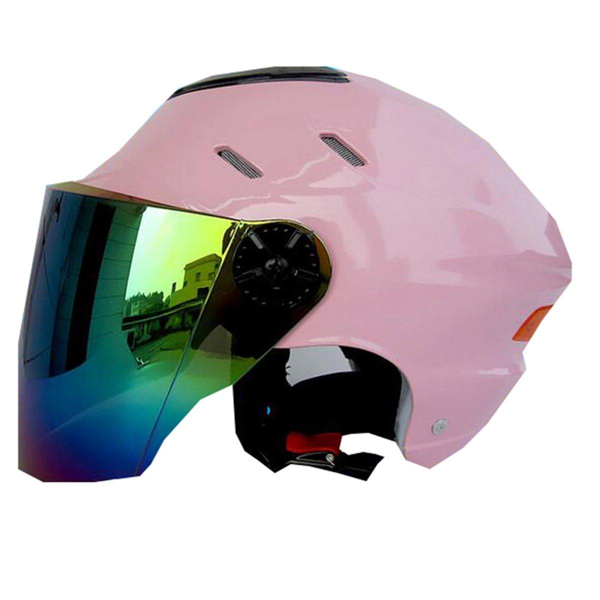 TZQ Dame Electric Car Fashion Herren Motorrad Half-coveROT Sonnenschutz Wrestling Hut Helm