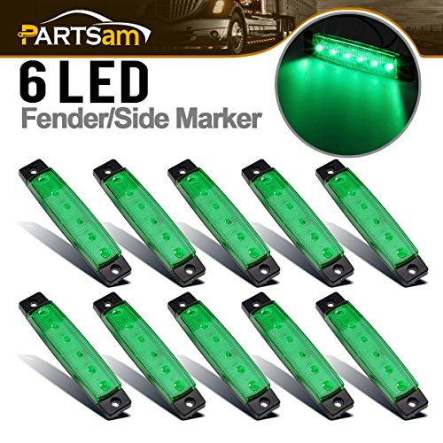 Partsam 10x 6 LED Green Side Marker Indicators Parking Light Trailer Truck Lorry RV Camper, 3.8