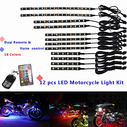 (NBWDY's 12Pcs Motorcycle LED Light Kit Strips Multi-Color Accent Glow Neon Ground Effect Atmosphere Lights Lamp with Dual Remote & Voice Controller for motorcycle,ATV,golf Car ...)