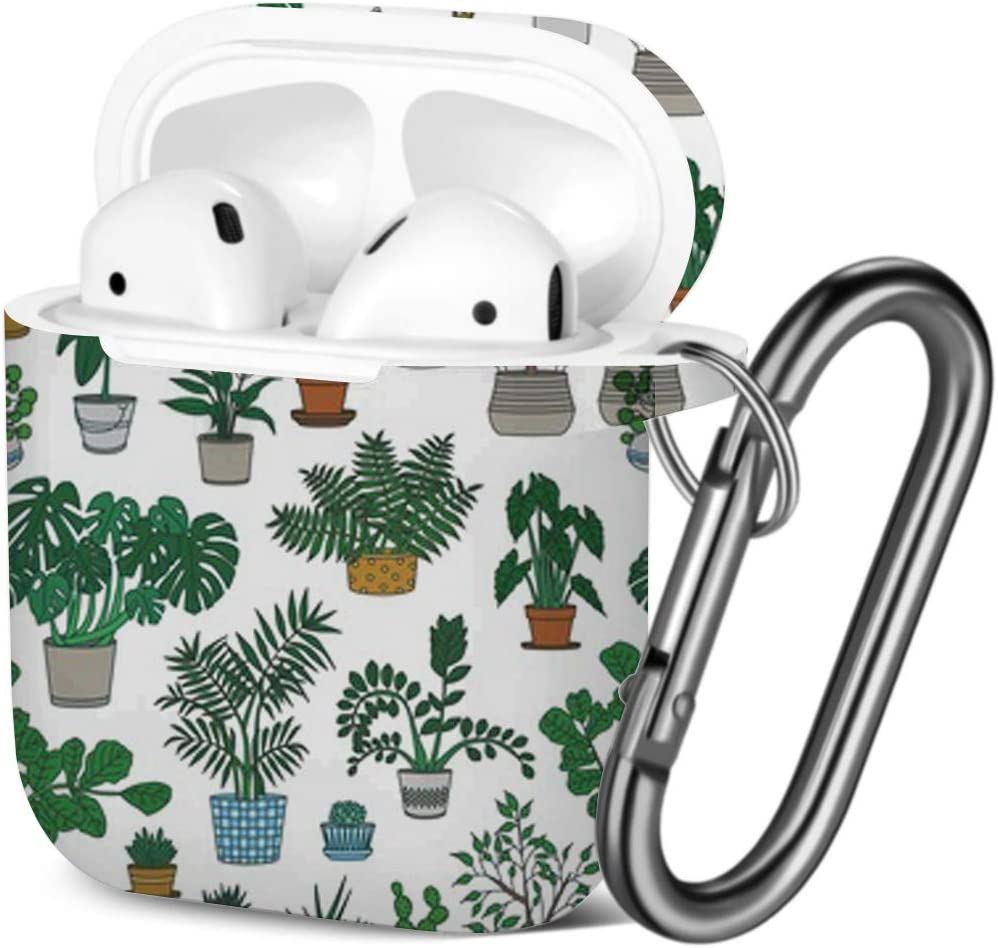 Houseplants Growing Pots Compatible with AirPods 2 and 1 Shockproof Soft TPU Gel Case Cover with Keychain Carabiner for Apple AirPods