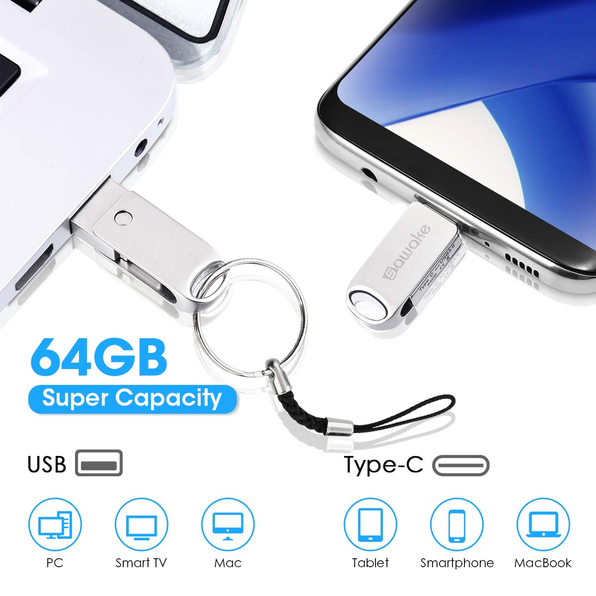regalo per PC//Laptop//Notebook//Type-C cellulare//ufficio USB Flash Drive da 64 GB USB-A 3.0 e USB Type-C SAWAKE Flash Memory Stick metallo impermeabile Memory Stick con portachiavi
