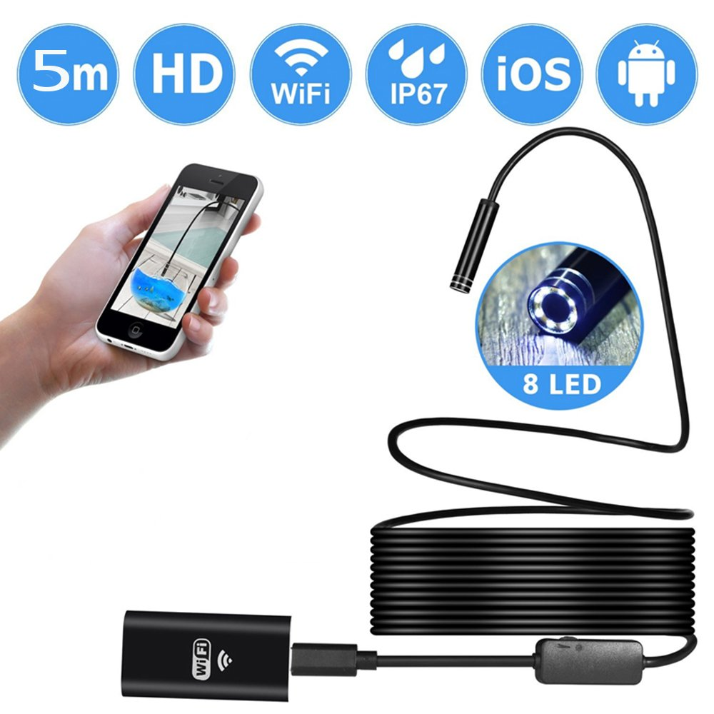 Wireless Endoscope, ATian WiFi Borescope video Inspection Camera with 2.0MP HD Snake Camera with 8 adjustable LED Light for both Android and IOS Smartphone,iPhone,Tablet,PC - Black(5 M) by ATian