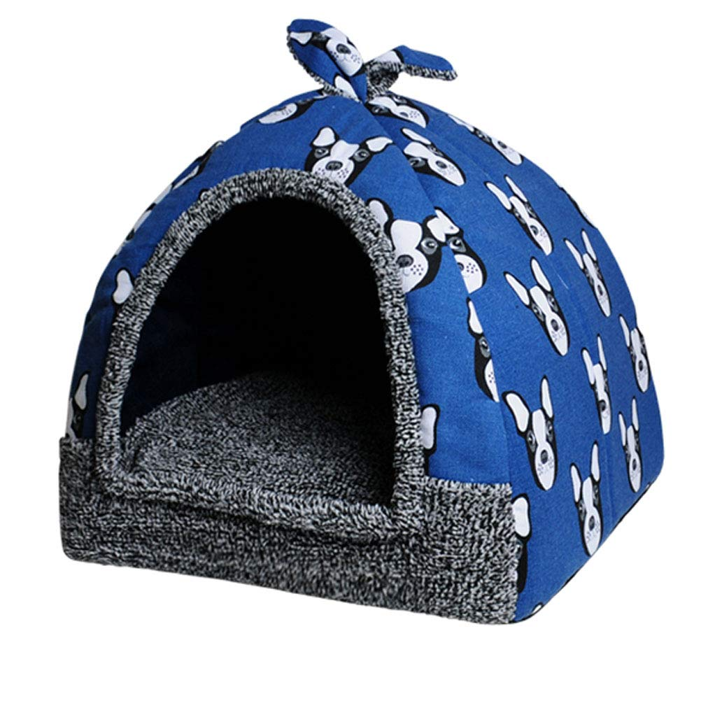 bluee LWybxfat Cat Bed,Washable Foldable Multifunction Dog Bed Cat Nest,Waterproof Breathable Removable Plush Warm Cushion Indoor Pet Nest (color   bluee, Size   L)