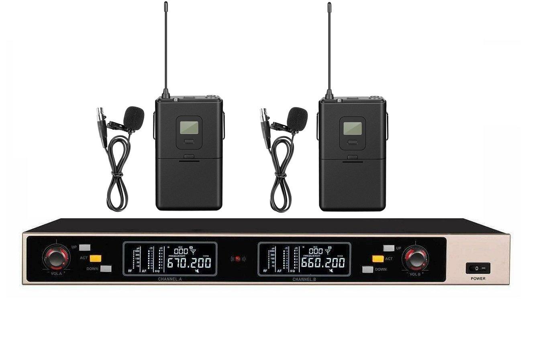 Dual Inalámbrico Micrófono Tie-Clip solapa Lavalier Sistema de ...