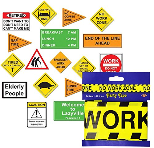 No Work Zone Party Tape - Beistle Retirement Party Set with No Work Zone Tape and Retirement Cutout Signs