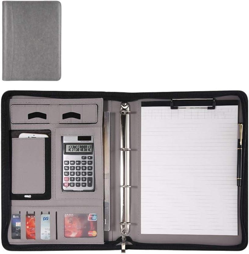 Yzibei Organizador de Carpetas de Documentos A4 Carpeta De Portapapeles De Combinación Multifuncional De Piel Reforzada Carpeta De Portapapeles para Tableta iPad (Color : Black, Size : 345x260mm)