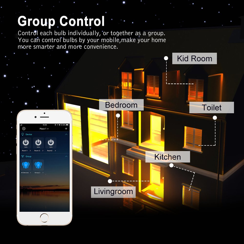 E27 40W Equivalent Night Light App Group Controlled Multicolored Dimmable Lamp,No Hub Required Zombber Smart Bluetooth Mesh LED Light Bulb Party Disco Color Changing