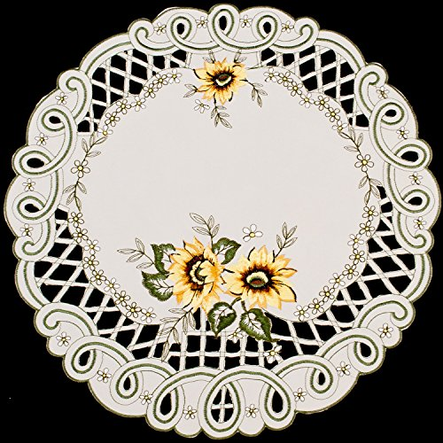 gs Embroidered Sunflower Doily Placemat 15