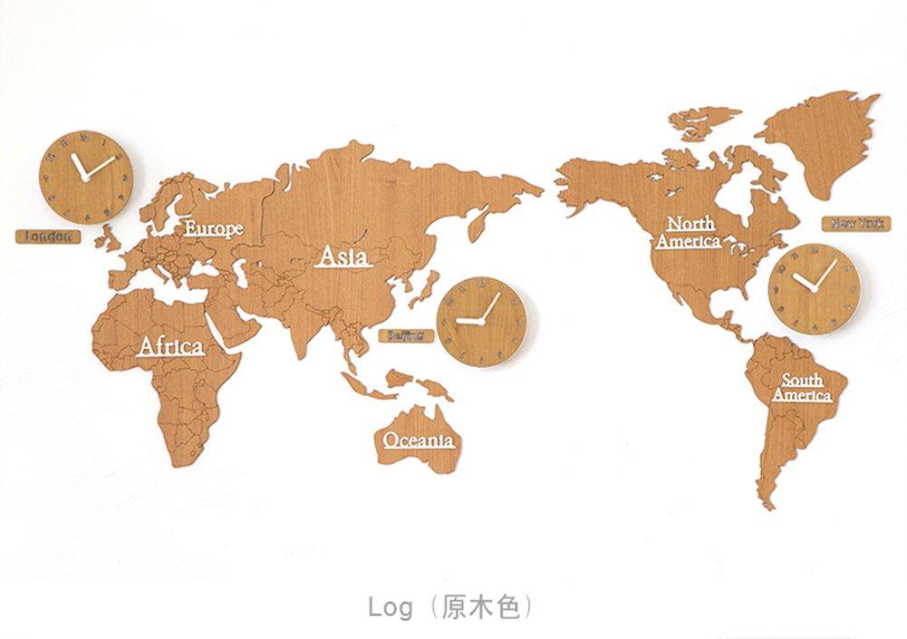 北欧世界地図ウォールクロックリビングルームパーソナルハウスデコレーション137 * 63cm (色 : Burlywood) B07FG27NYXBurlywood